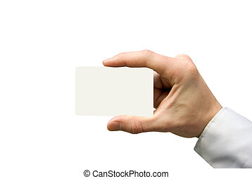 business card in hand - Man hand holding a blank business...