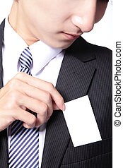 business card in suit pocket