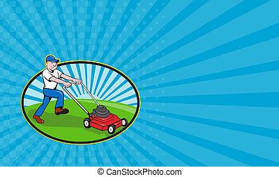 Business card Lawnmower Man Lawnmowing