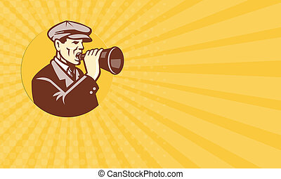Business card Man Shouting With Vintage Bullhorn Retro