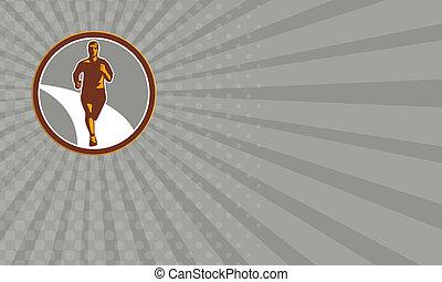 Business card Marathon Runner Front Circle Retro
