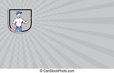 Business card Mechanic Hold Spanner Waving Hand Cartoon
