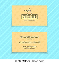 Business card of coffee shop isolated on turquoise background. Vector design elements, business signs, logos, identity, labels, badges and other branding objects for business. Vector illustration.