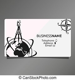 Business card of Geodesy and Cartography. A geodetic device...