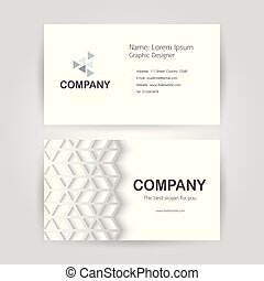 Business card on white background with copy space.