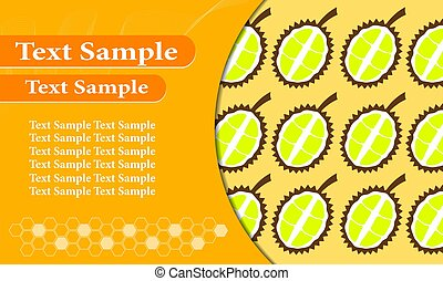 Business card orange Durian. Poster Advertisement Flyers Vector Illustration.