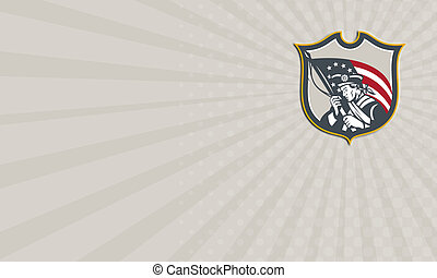 Business card Patriot Holding American Flag Shield Retro -...