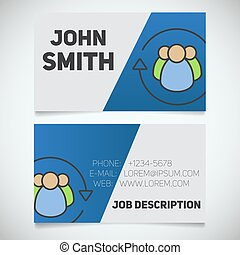 Business card print template with staff turnover logo. ...