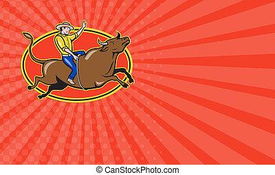 Business card Rodeo Cowboy Bull Riding Retro
