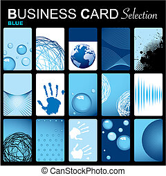 Business card selection - Selection of fifteen blue inspired...