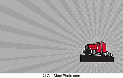 Business card Semi Truck Tractor Low Angle Retro