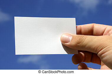 Business card with blue sky and hand