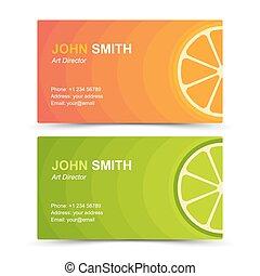Business card set orange lime. Vector illustration in eps10