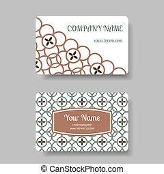 Business card set with floral chinese ornament