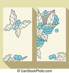Business card set with hand drawn outline leaves and berries