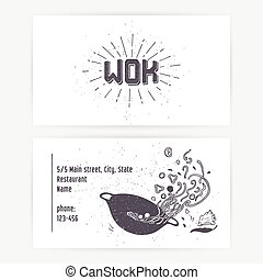 Business card set with wok noodles. Hand drawn logo template and sunburst. Monochrome hipster style lettering. Vector illustration