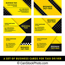 Business Cards Taxi Vector Template 10 Eps