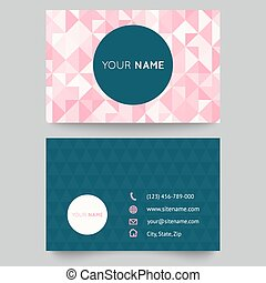 Business card template, abstract crystal pink triangle background
