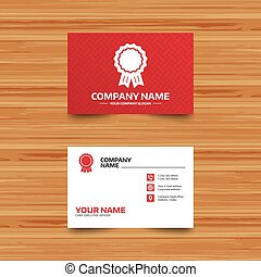 Award medal icon. Best guarantee symbol. - Business card...