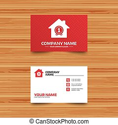 Best home. First place award icon. - Business card template....