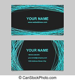 Business card template design set - vector identity illustration with arched lines on black background