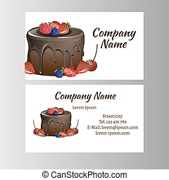 Business Card Design Template With Tasty Cakes Vector Illustration