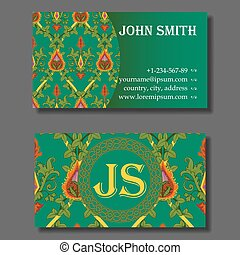 Business card template green and orange vintage pattern