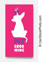 Business card template of pet grooming with little sitting...