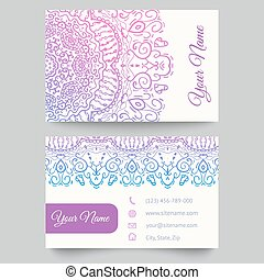 Business card template, purple and white beauty fashion pattern vector design