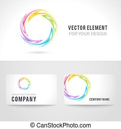 Business card template set, abstract colorful circle background. Vector illustration