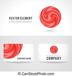 Business card template set, abstract red circle background. Vector illustration