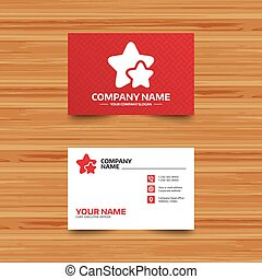 Star icon. Favorite sign. - Business card template. Star...
