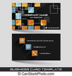 Business card template, visiting card with square pattern,...