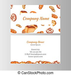 Business card template with bakery set.