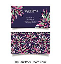 Business card template with floral pattern