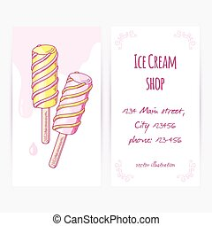 Business card template with hand drawn twisted fruity popsicle and drops