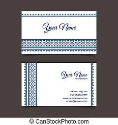 Business card template with stylish cross-stitch pattern