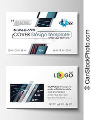 Business card templates. Cover template, easy editable blank, flat layout. Abstract lines background with color glowing neon streams, motion design vector.