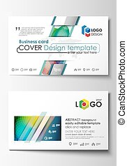 Business card templates. Cover template, easy editable vector, flat style layout. Colorful design background with abstract shapes and waves, overlap effect.