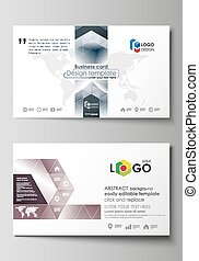 Business card templates. Easy editable layout, vector design template. Simple monochrome geometric pattern. Abstract polygonal style, stylish modern background.