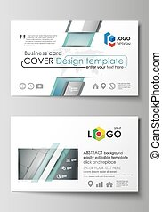 Business card templates. Easy editable layout, abstract vector design template. Geometric background, connected line and dots. Molecular structure. Scientific, medical, technology concept.