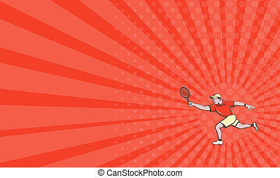 Business card Tennis Player Racquet Forehand Cartoon