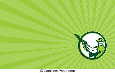 Business card showing illustration of a tree surgeon arborist gardener tradesman worker holding a hedge trimmer facing front set inside circle done in retro style on isolated white background.
