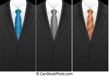 Business Card Tuxedo Tie or Necktie Set. Vector