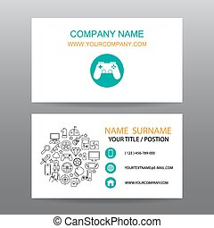 Business card vector background,gamer