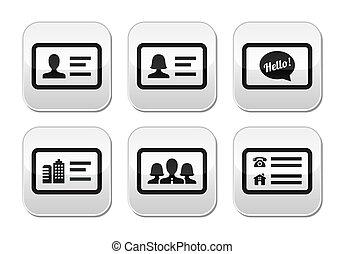 Business card vector buttons set