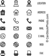 Business card vector icons, home, phone, address, telephone,...