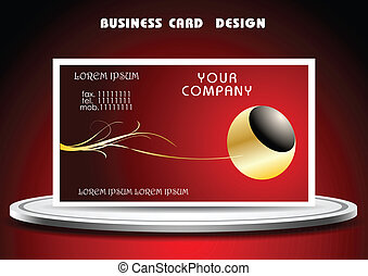 Business card vector template on podium.
