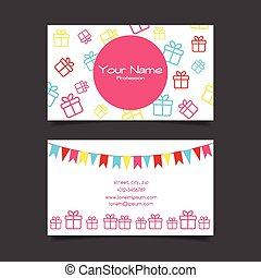 Business card vector template with gift boxes