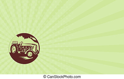 Business card Vintage Farm Tractor Circle Woodcut